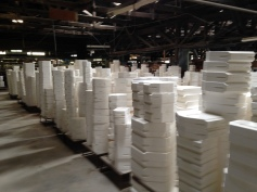 Stacks of moulds in the factory